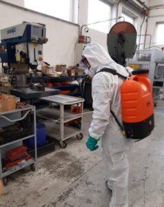 intervento di sanificazione ambienti di lavoro